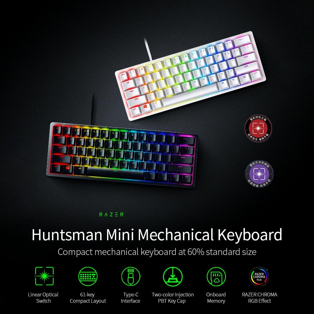 Razer Huntsman Mini Gaming Mechanical Keyboard Clicky Optical/Linear Switch 61 Keys Wired RGB Keyboard for PC Gamer Balck/Silver