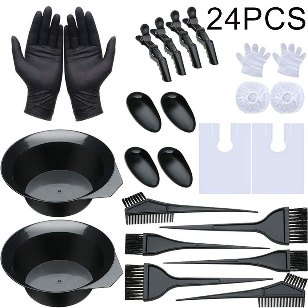Профессиональный набор инструментов для окраски волос 24 шт./компл., расческа, расческа, инструменты для окраски волос в салон, для укладки во...