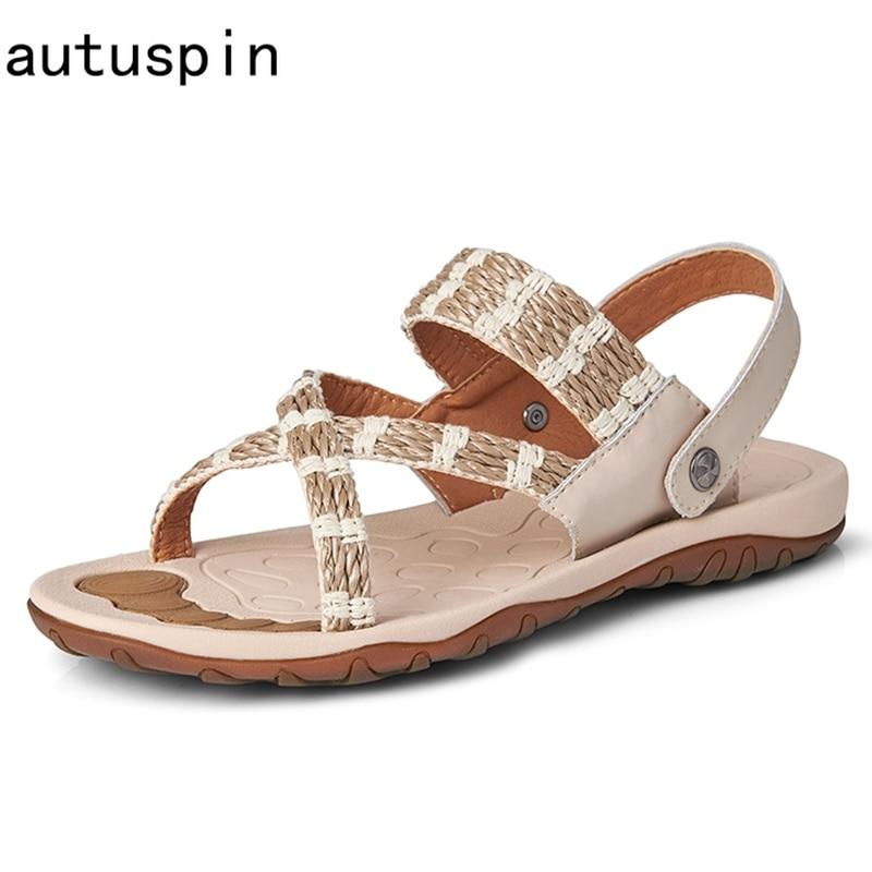 Autuspin الكلاسيكية الرجال الترفيه الصنادل الصيف موضة عالية الجودة شبشب رجالي 2021 أحدث الذكور في الهواء الطلق الشاطئ حذاء كاجوال أسود