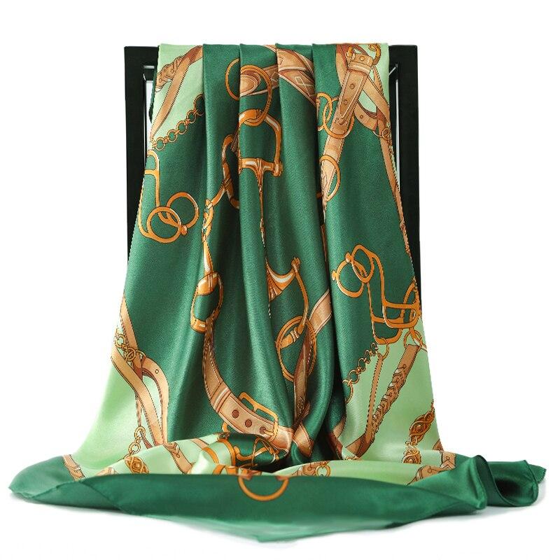 Bufandas de seda con estampado de Foulard de satén y Cabeza Cuadrada, hiyab, bufandas para mujeres, chales de lujo de marca, 90cm, pañuelo femenino, bufanda