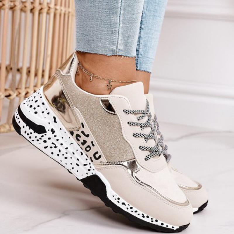 Women Sneakers Lace-Up Platform Sports Shoes for Women Breathable Ladies Sneakers Leopard Print Women's Vulcanize Shoes