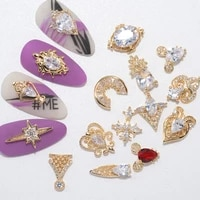 nail decoration embellished pendant flash drilling chain designs 5 pcsset metal with zircon rhinestones for beauty salons