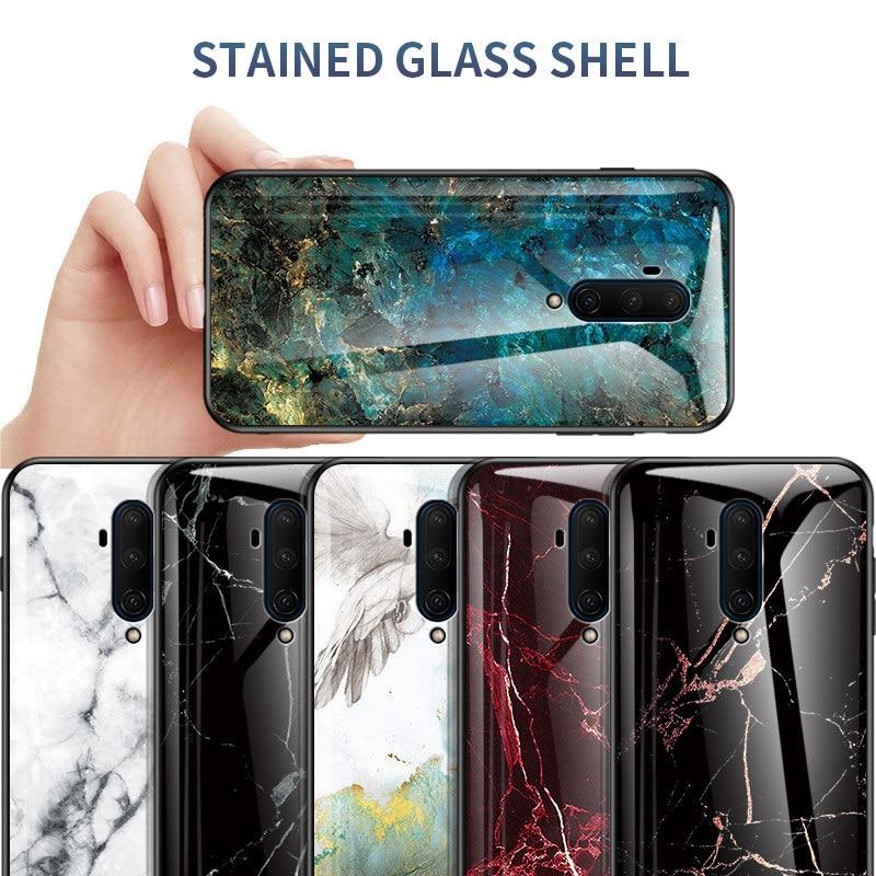 Para Oneplus 7T 7T Pro funda de piel de mármol de vidrio templado funda trasera del teléfono Oneplue 7T Pro protección completa Funda carcasa Coque