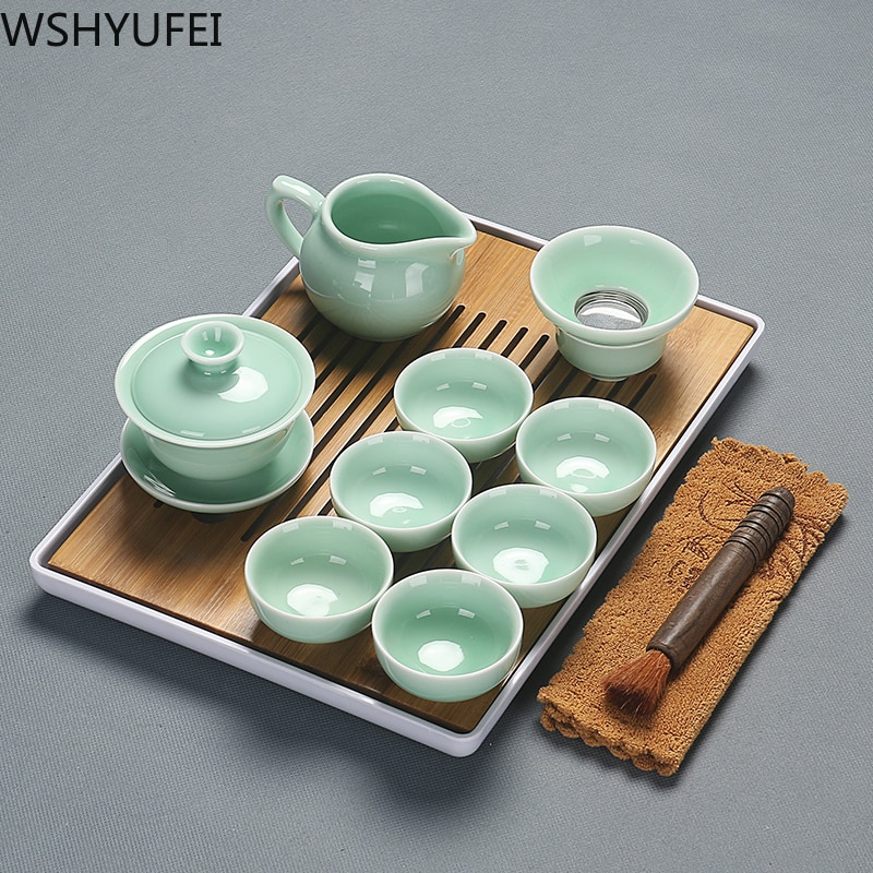 Celadon chinês requintado conjunto de chá cerâmica chaleiras copo de chá bandeja de plástico porcelana conjunto de chá de viagem melhor presentes