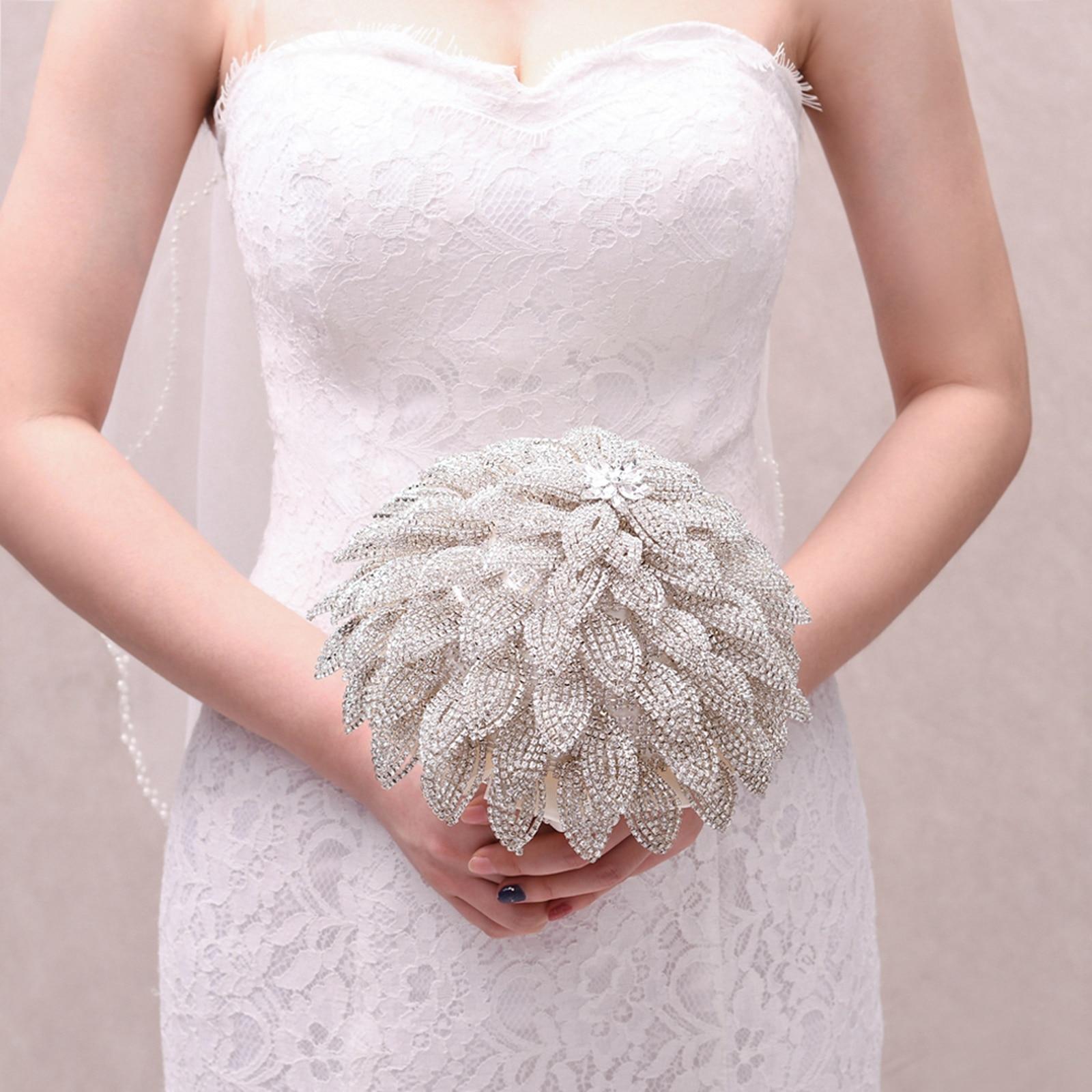 Handmade Crystal Bouquet Wedding Flower Accessories Bridal Bouquet Rhinestone Luxury Wedding Flowers Bridal Bouquets Bridesmaid недорого