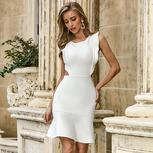 Vero Sinly Summer 2020 Sexy Ruffles Hollow Out Mermaid White Bodycon Women Bandage Dress Elegant Evening Party Dress Vestido