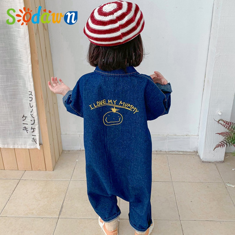 Комбинезон Sodawn детский из денима повседневная одежда для мальчиков и девочек с