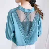 half sleeve 2021 summer cotton t shirt plus size splicing lace tops womens v neck fashion tee solid loose gauze shirt