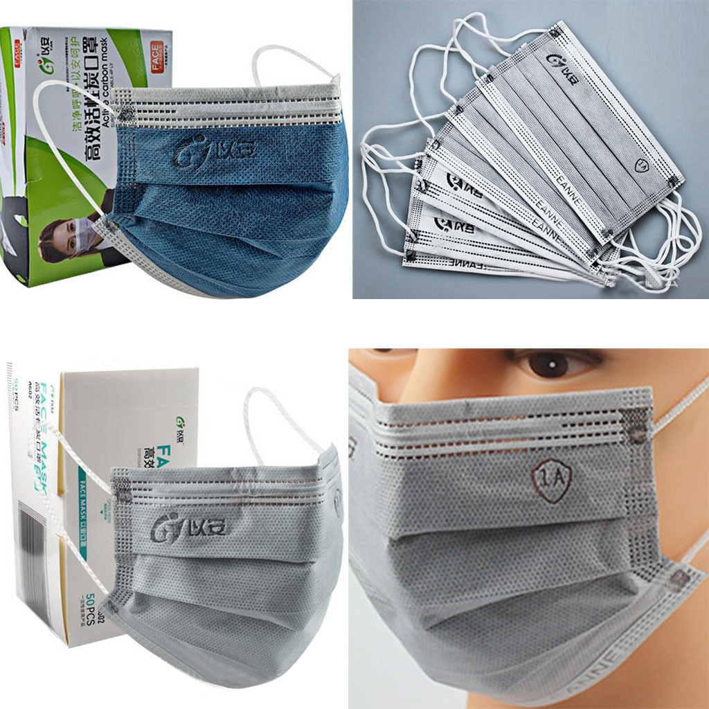 new n95 dust mask activated carbon double breathing valve protective masks dust mask masks second hand smoke 50PC Activated Bamboo Carbon Masks Unisex Disposable Face Mask Industrial 4Ply Ear Loop Dust Safe Protective Mask Mascarillas