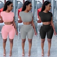 echoine summer short sleeve ribbed skinny shorts set hollow out grommet lace up two piece set tracksuit work out sporty suit new