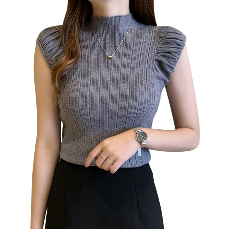 Women Clothes Ladies Summer Crop Top O Neck Solid Half Turtleneck  Casual Knitted Sleeveless T-Shirt One Size