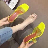 slippers women summer luxury 2021 new sexy transparent high heels pointed toe fashion muller sandals plus size chaussure femme