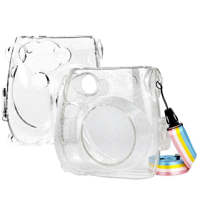 Fujifilm Instax Mini 7s película instantánea Cámara funda transparente, funda protectora de cristal transparente con correa de hombro arco iris