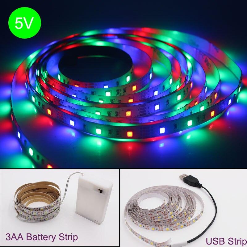 3AA Batterie RGB LED Streifen 2835 RGB Flexible LED Licht 0,5-5M USB DC5V RGB Farbe Veränderbar TV hintergrund Beleuchtung.