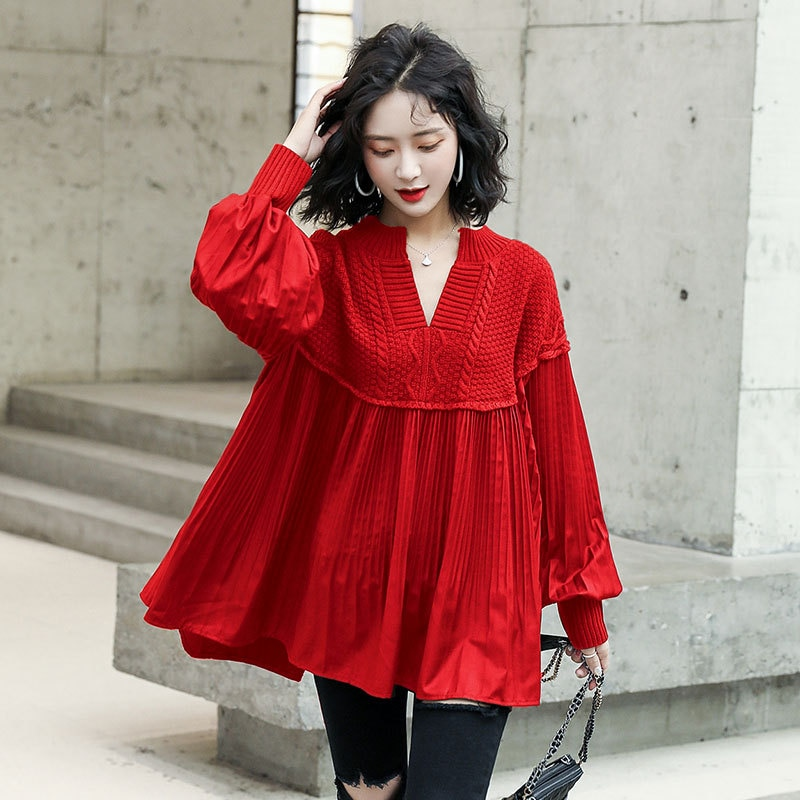 2020 saison nouveau col en v tricot couture petite chemise plissée lanterne manches ample moelleux chemise veste femmes
