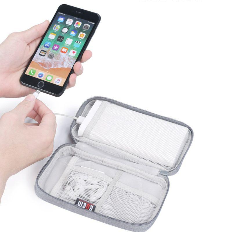 Bolso Durable del Banco de la energía del poliéster bolsa de almacenamiento Mini Protable estuche de viaje protector para transporte paquete para auriculares celulares datos C