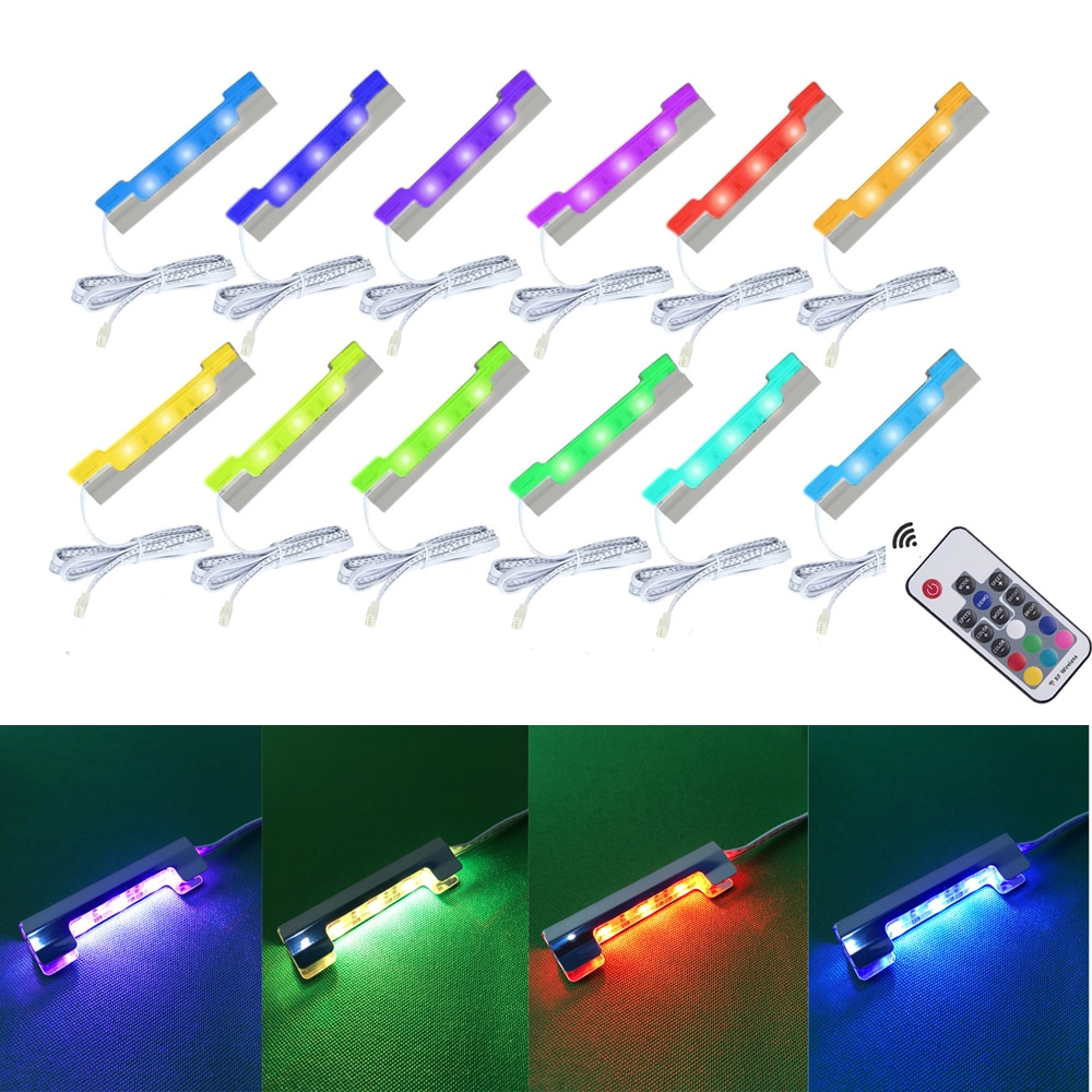 Aiboo 4/6/8/12 Lamps RGB Glass Edge Shelf Side Clip Clamp light LED Under Cabinet Lights with Remote