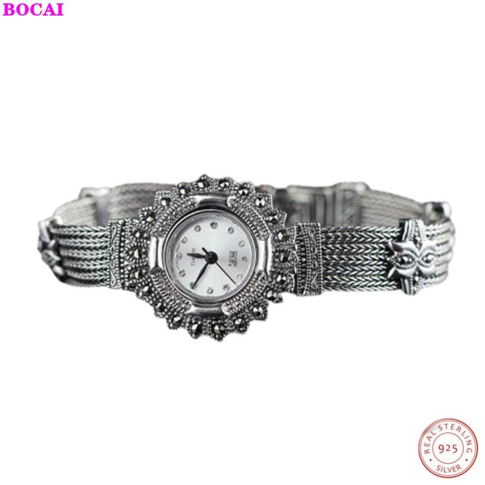 BOCAI, pulseras de plata 925 para mujer, Plata tailandesa S925, joyería de plata esterlina para mujer, exquisitas pulseras de reloj, 2019 nuevas