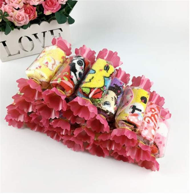 50pcs/lot Cotton Baby Towels bath Towel Handkerchief Bathing Feeding Face Washcloth Wipe Wedding Gifts Candy shape packing