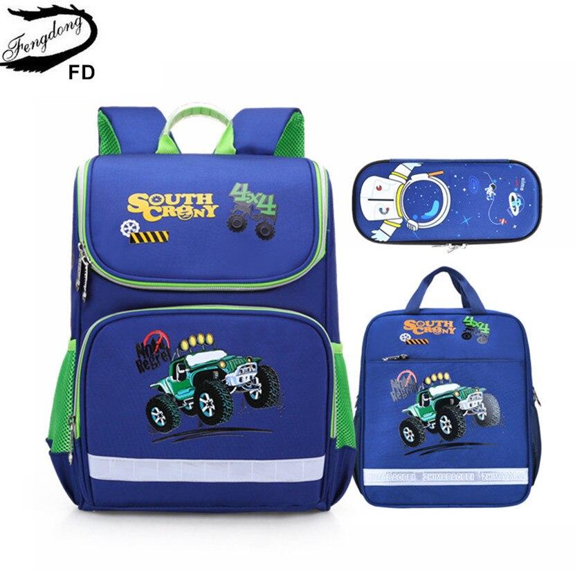 Fengdong elementary school bags for boys car pen pencil case bookbag student luminous school backpack girls cute school bag set