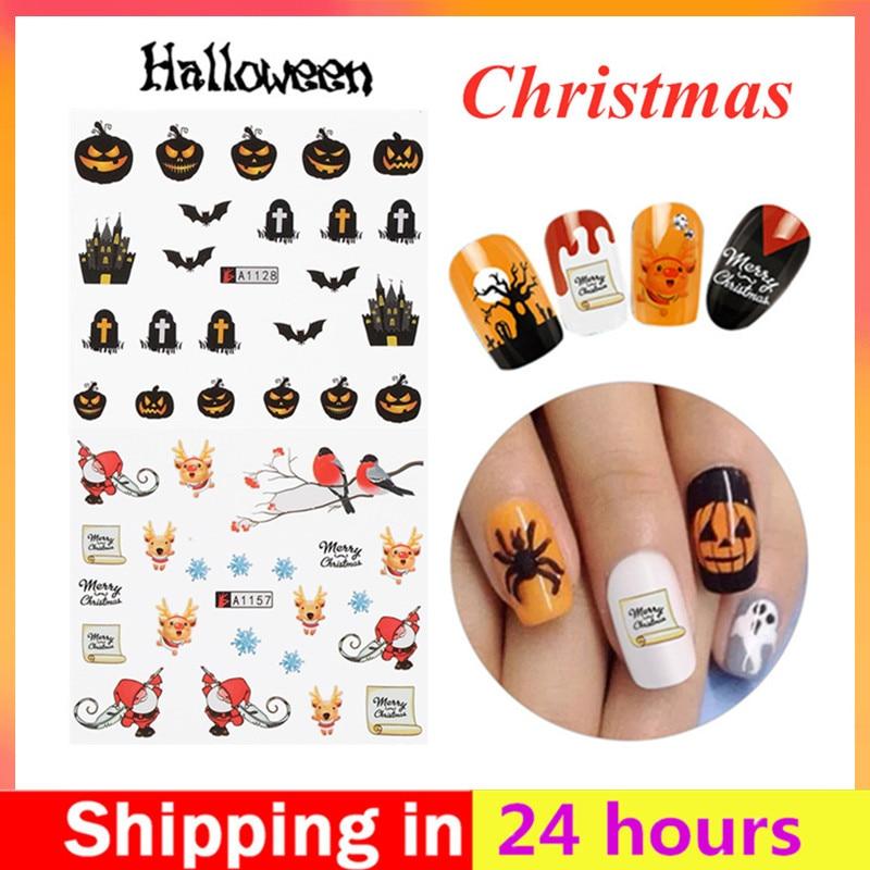 1pc/12sets de adhesivo de manicura para uñas calcomanías pegatinas de Halloween conjunto secreto decoración de Arte de uñas herramientas de bricolaje accesorios de uñas