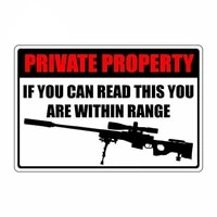 private property within range sniper rifle sign funny car stickers vinyl waterproof van accessories for suv van decal pvc13x9cm