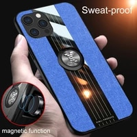phone case for iphone 6 6s 7 8 se 2020 plus x xr xs max 11 pro 12 13 mini cloth pattern armor with magnetic ring bracket cover