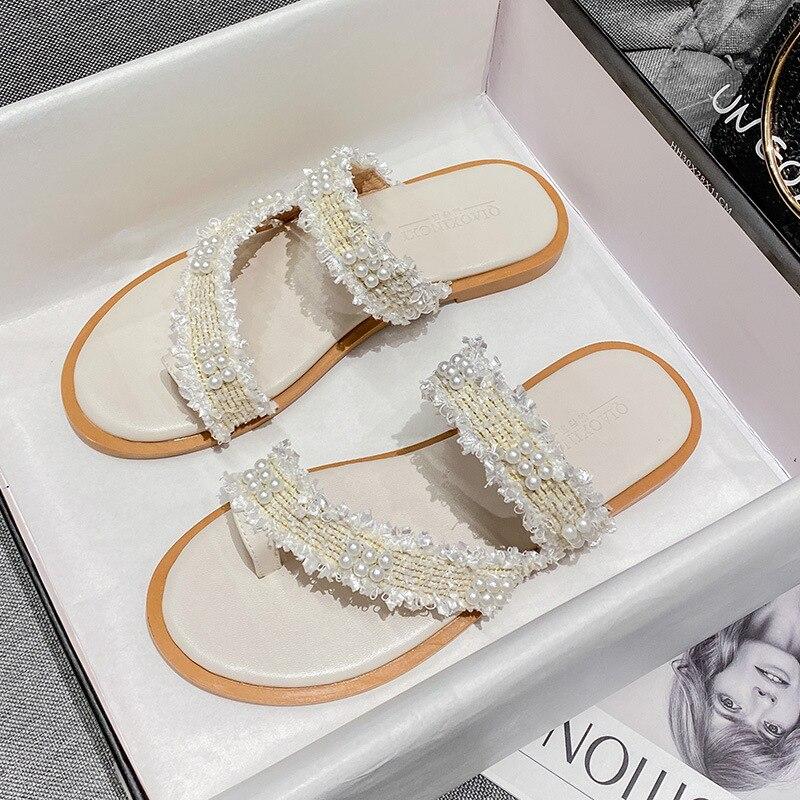 الصيف المرأة الصنادل 2021 مصمم الموضة في الهواء الطلق الترفيه موضة اللؤلؤ النعال مع أحذية منخفضة للنساء mules41-43size مسطحة