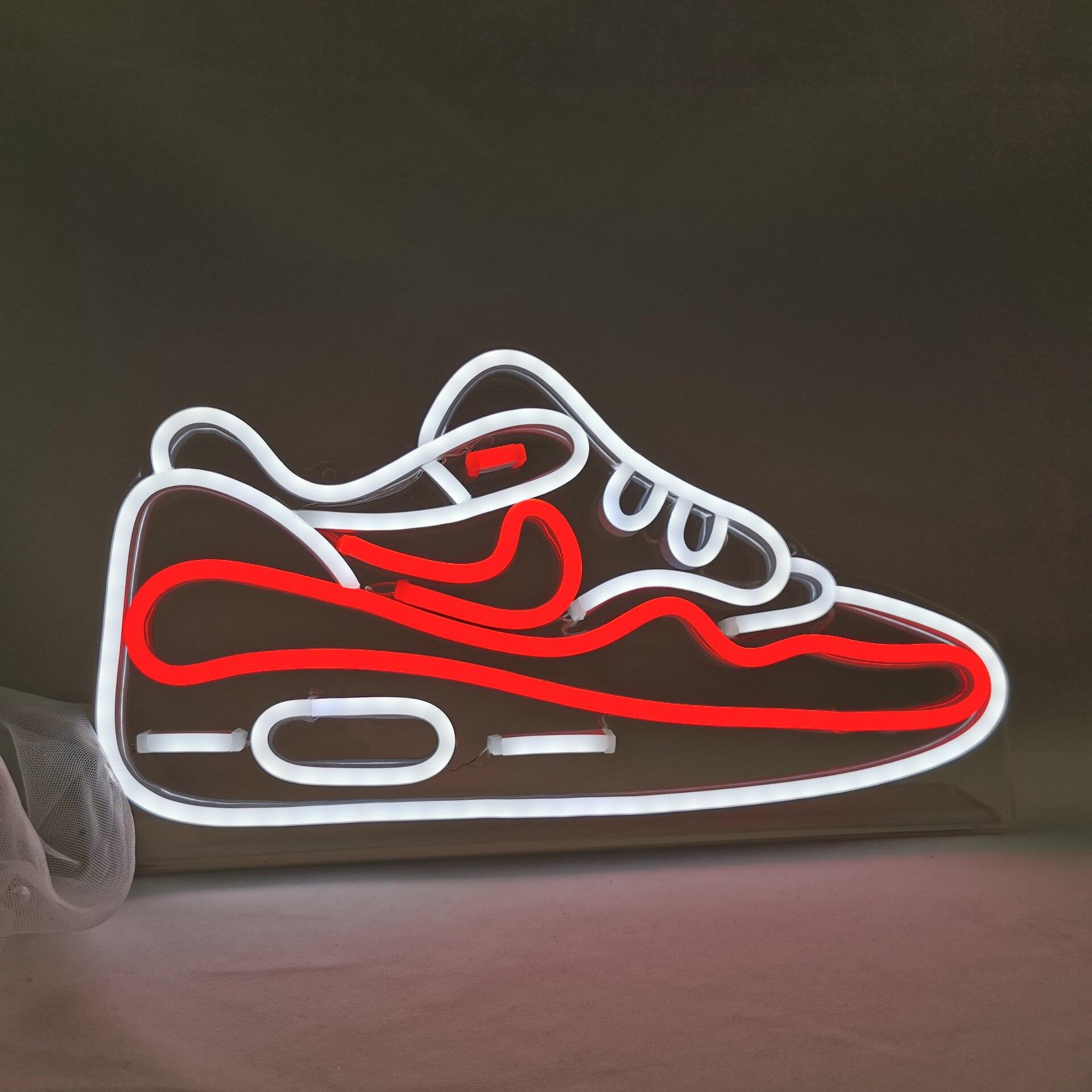 هدية عيد ميلاد ديكور المنزل حذاء مصنوع حسب الطلب ضوء النيون Led ضوء النيون تسجيل مجلس العرض لتخزين