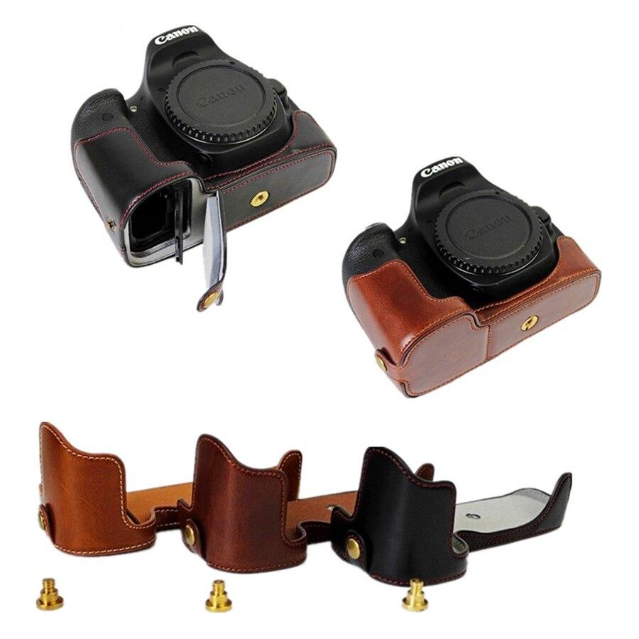 Bolsa da Câmera Case de Couro do Plutônio Capa para Canon Metade do Corpo Escudo com Abertura da Bateria Portátil 60d Eos 90d 80d 70d