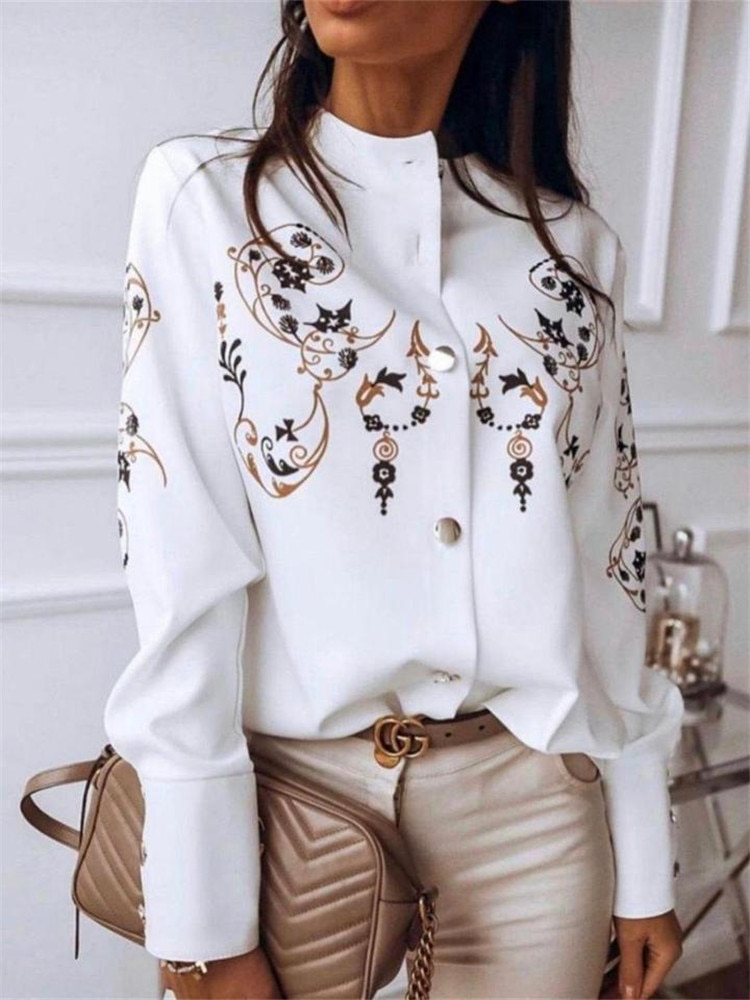 2021 new women s shirt fashion printing stand up collar - single breasted texture button white long sleeved