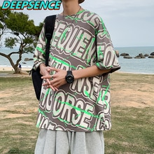 2021 New Summer Fshion Half Sleeve T Shirt Tops Men Krean O Neck Cool Letter Print Casual Streetwear