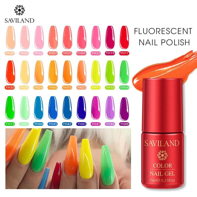 SAVILAND флуоресцентный Гель-лак 7 мл неоновый цветной замачиваемый УФ-гель лак Летняя тема ночной светящийся гель для дизайна ногтей