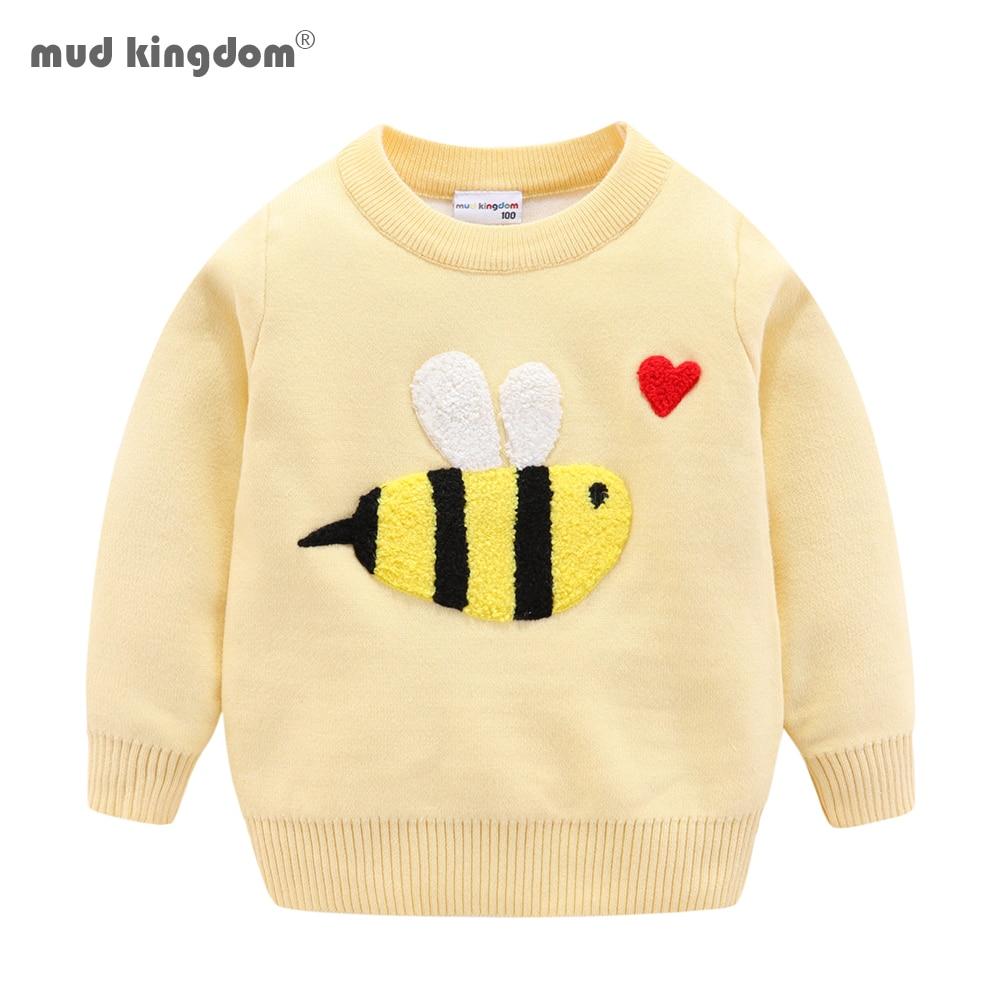 Mudkingdom crianças suéteres bonito dos desenhos animados abelha manga longa pulôver tricotado topos duplo-deck