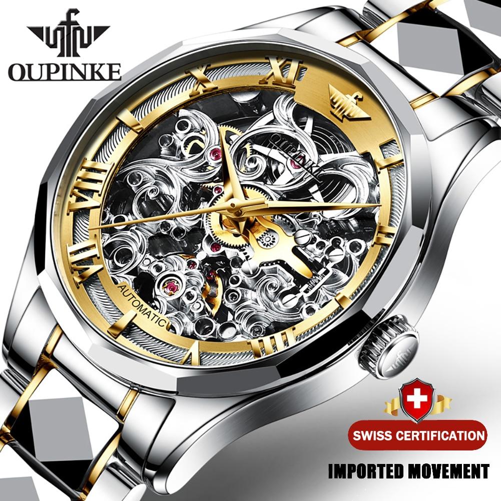OUPINKE ساعات آلية رجالية فاخرة هيكل عظمي ساعة اليد التلقائية العلامة التجارية الأعلى الفولاذ المقاوم للصدأ الياقوت زجاج ساعات رجالية 3168