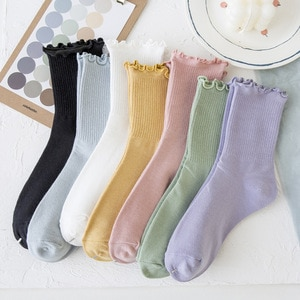 6 Pairs Socks Women Pure Cotton Stockings Japanese Solid Color Retro Women's Socks Breathable and Comfortable Woman Socks