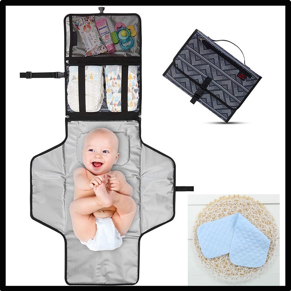 MUQGEW plegable recién nacido alfombrilla para cambiar pañales de viaje impermeable multifunción portátiles bebé Diape Mat WU8