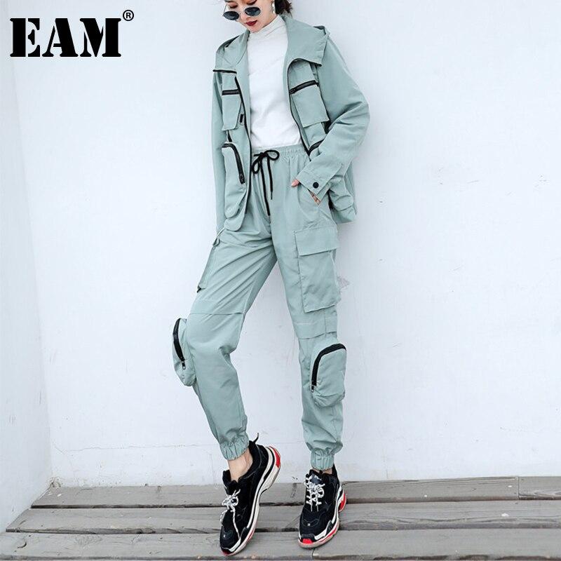 [EAM] بنطال بجيوب كبيرة غير منتظمة مكون من قطعتين بدلة جديدة بطيات وأكمام طويلة فضفاضة تناسب النساء موضه لفصل الربيع والخريف 2021 1DD5180