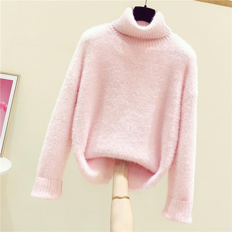 2020 New Autumn Winter Women Pink Pullovers Tops High-necked Solid Color Long Sleeve Mink Cashmere Sweaters Casual Loose