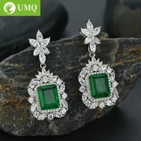 umq 100 925 sterling silver synthetic emerald drop earrings for women sparkling high carbon diamond fine jewelry wholesale