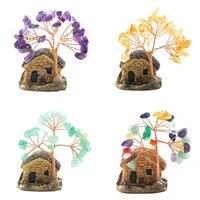Mini arbre porte-bonheur en cristal avec pierres precieuses  Quartz  argent porte-bonheur  plante Feng Shui  bonsai  ornements de meuble