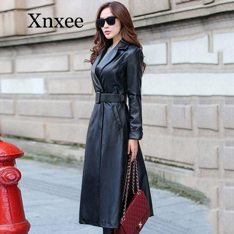 Red Elegant Faux Leather Long Jacket Female Women Autumn Winter Slim Single Breasted Lapel Leather Trench Coat Outwear office enlarge