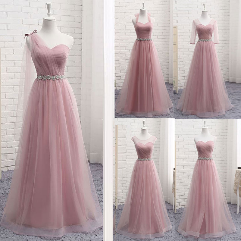 Hot V Neck Bridesmaid Dresses long for Women Elegant 2020 A Line Sparkly Tulle Pink Party Dress for