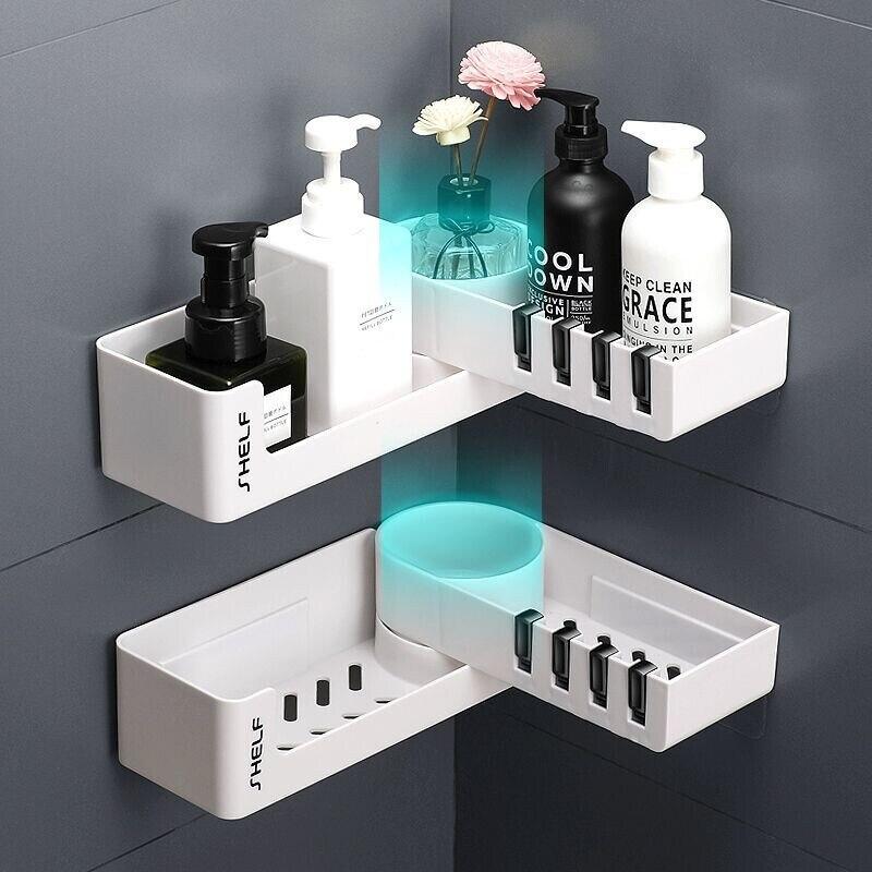 رفوف الحمام دورات المياه بدون ثقب المراحيض وطاولات الغسيل جدار شفط للتدوير مثلث تخزين الرف كيتشن التخزين