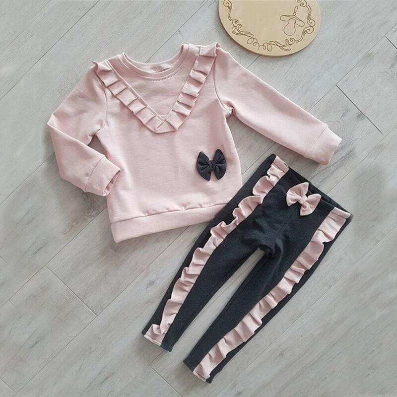 PUDCOCO Sweets niño chico bebé niña camisa superior + Pantalones largos pantalones trajes ropa Conjunto de Apoyo al por mayor