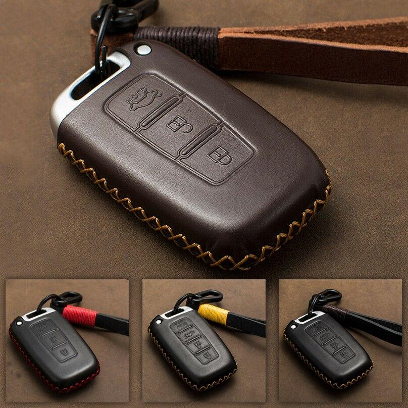 For Hyundai Sonata Veloster Elantra I30 IX35 Verna S263 Genuine Leather Car Key Case Cover Bag Shell KIA Remote Key Case