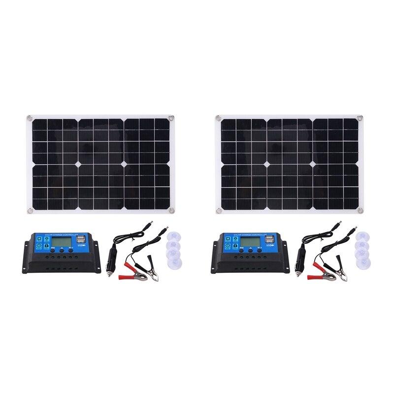 2X 15 واط لوحة طاقة شمسية 12 فولت شاحن بطارية عدة 50A تحكم ل قافلة فان قارب المزدوج USB