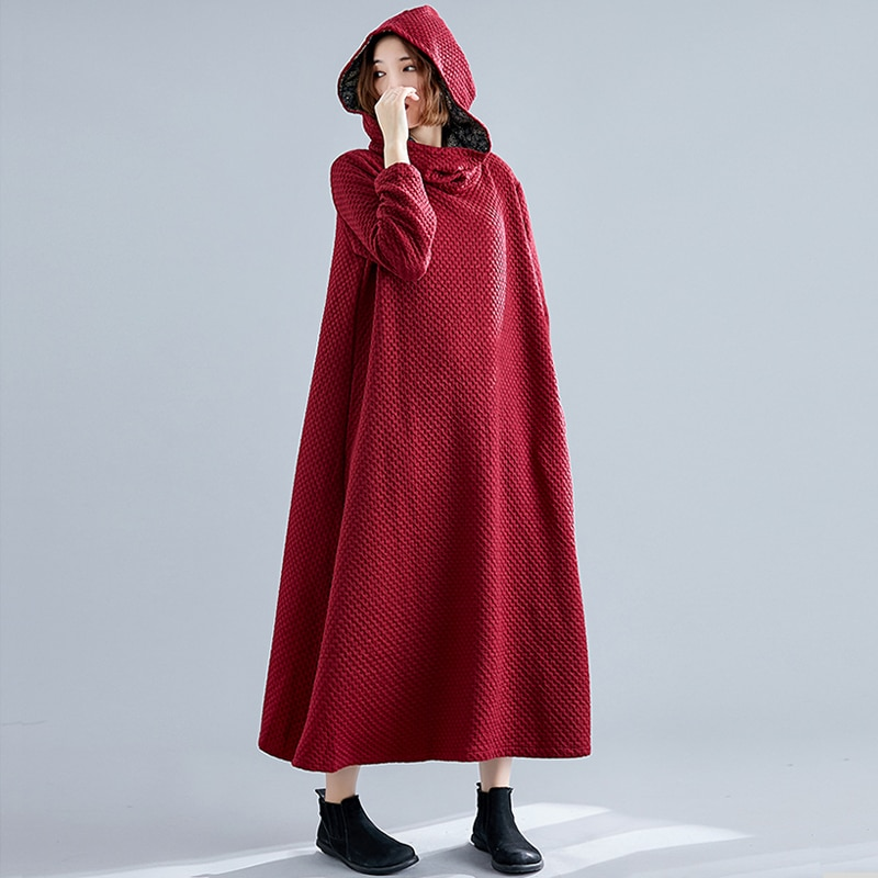 Large Size Women's Clothing 2020 Autumn and Winter New Artistic Retro Wizard's Hat Loose Long Robe Q
