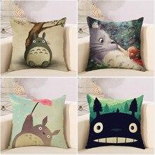 Dessin animé mignon Totoro belle couverture De taie doreiller forme carrée Chinchillas housse De coussin pour canapé maison Capa De Almofadas 45x45