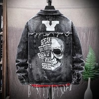 autumn skull brand printed jacket male jacket spring denim outerwear spring autumn new hole fashion men personality ripped new